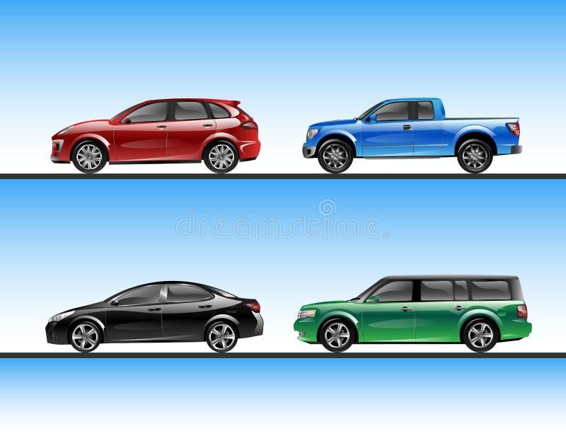 Wektorowy ustawiający różnorodni raffic pojazdy royalty ilustracja