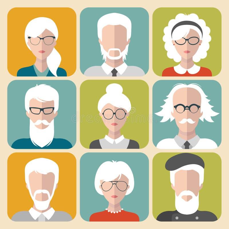 Wektorowy ustawiający różny stary człowiek i kobieta z szarymi włosy app ikonami w mieszkanie stylu ilustracja wektor