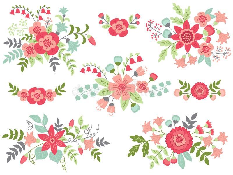 Wektorowy Ustawiający Różowi Kwieciści bukiety ilustracji