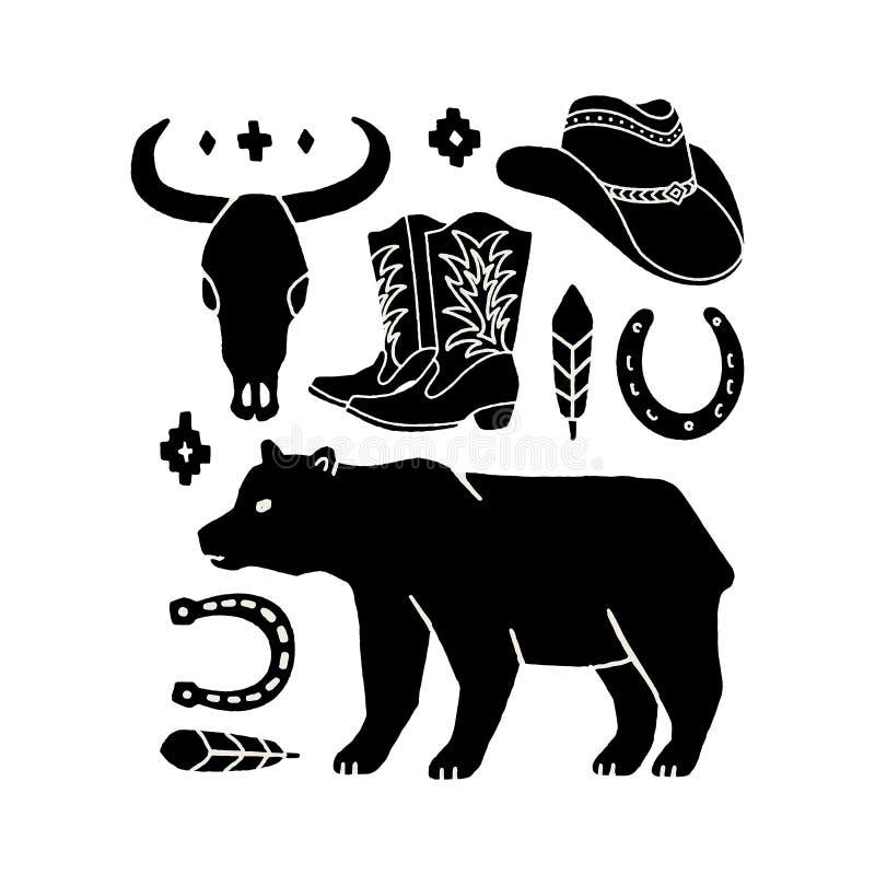 Wektorowy ustawiający ręka remisu elementy dziki zachód na białym tle ilustracja wektor