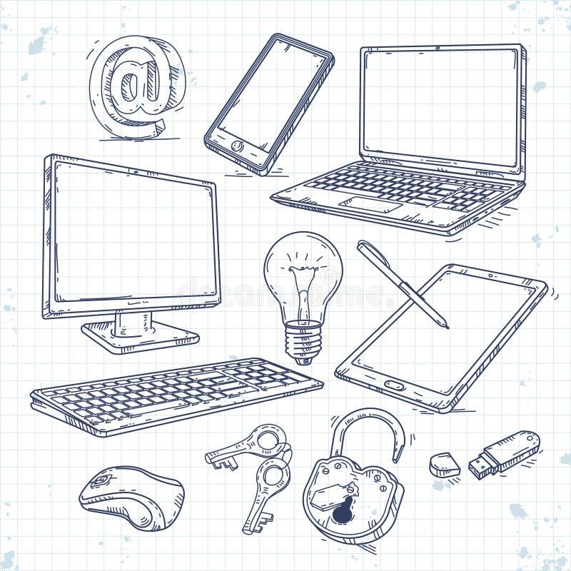 Wektorowy ustawiający ręka rysująca ikony informatyka royalty ilustracja
