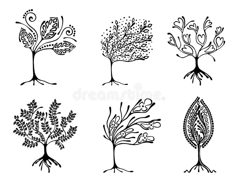 Wektorowy ustawiający ręka rysująca ilustracja, dekoracyjny ornamentacyjny stylizowany drzewo Czarny i biały graficzna ilustracja ilustracja wektor