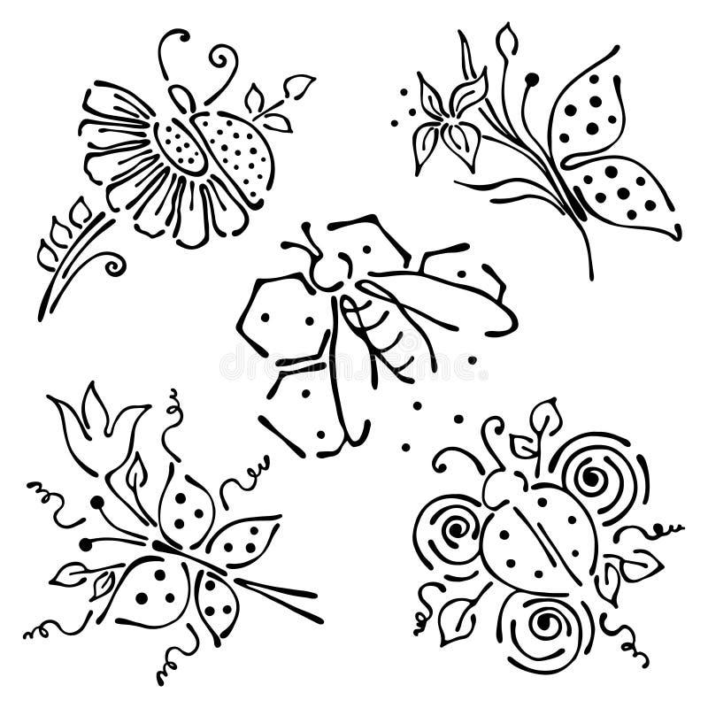 Wektorowy ustawiający ręka rysujący insekty Motyl, biedronka, wast z kwiatami, liście, honeycombs royalty ilustracja