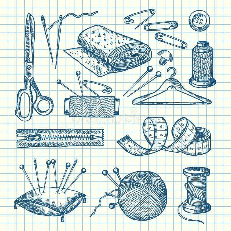 Wektorowy ustawiający ręka rysujący szwalni elementy ilustracyjni royalty ilustracja