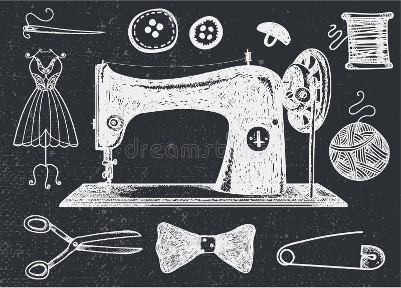Wektorowy ustawiający ręka rysuję szyć handcraft roczników elementy royalty ilustracja
