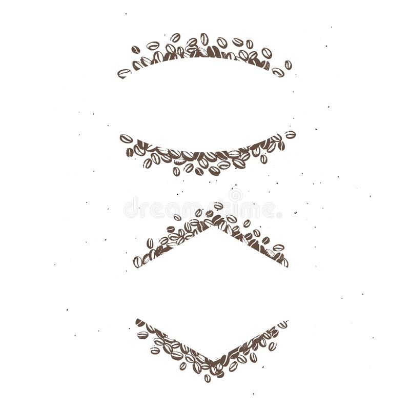 Wektorowy ustawiający ręki rysować proste ramy robić z kawowymi fasolami odizolowywać na białym tle ilustracji
