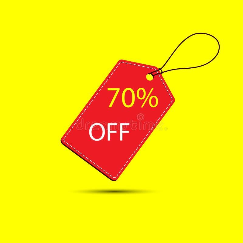 Wektorowy ustawiający rabat 70 procentów z Labe na żółtym backgroundl ilustracja wektor