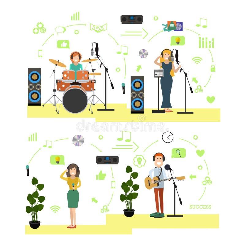 Wektorowy ustawiający radiowi ludzie symboli/lów, ikony w mieszkaniu projektuje ilustracji