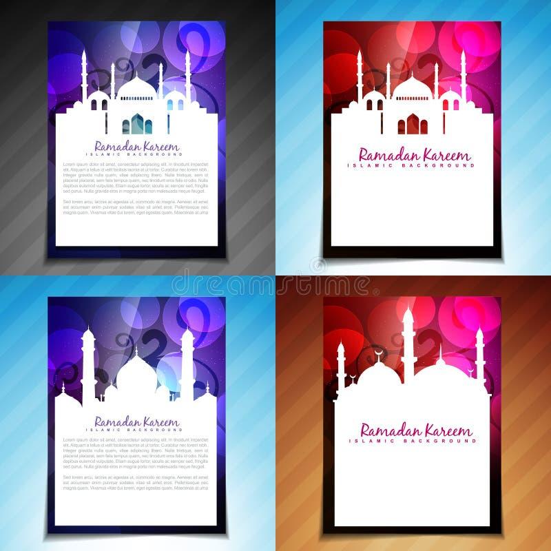 Wektorowy ustawiający Ramadan kareem broszurki projekt ilustracja wektor