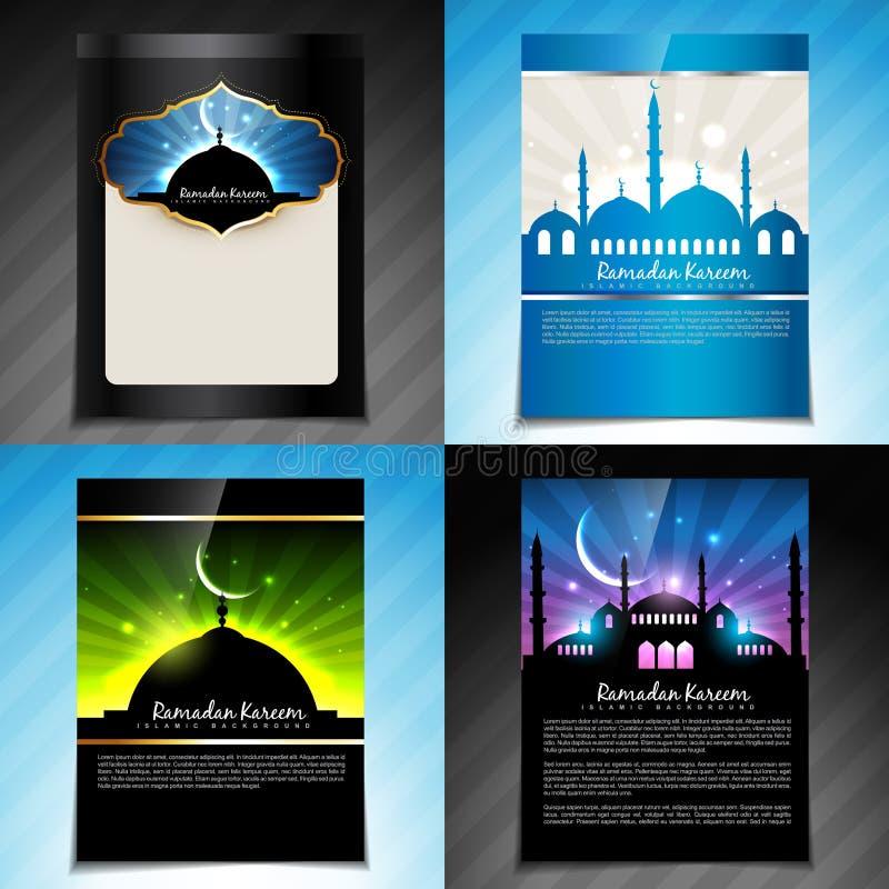 Wektorowy ustawiający Ramadan kareem festiwalu broszurki projekt