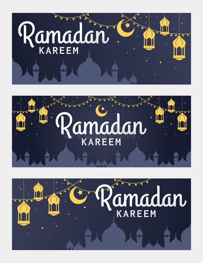 Wektorowy ustawiający Ramadan Kareem horyzontalny sztandar ilustracja wektor