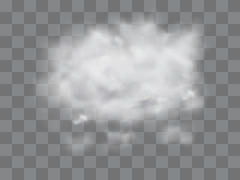 Wektorowy ustawiający realistyczna odosobniona chmura na przejrzystym tle obraz royalty free