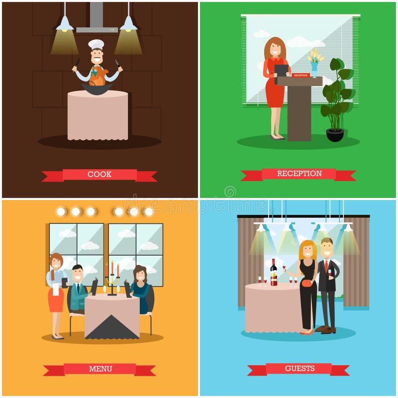 Wektorowy ustawiający restauracyjni ludzie plakatów w mieszkanie stylu ilustracji