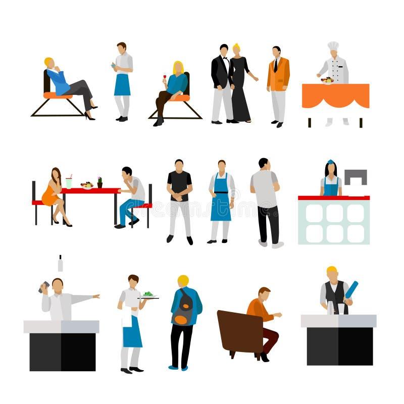 Wektorowy ustawiający restauracyjni pracownicy i goście Ludzie ikon na białym tle ilustracji