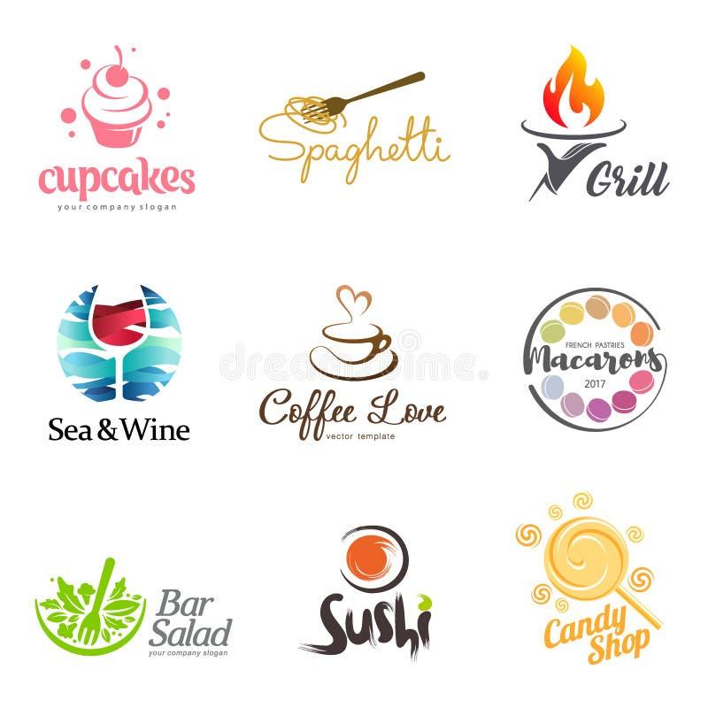 Wektorowy ustawiający restauracyjny loga projekt Eco jedzenia, wina, suszi, babeczek, macaroons, kawy i grilla ikona, Naczynie el ilustracji