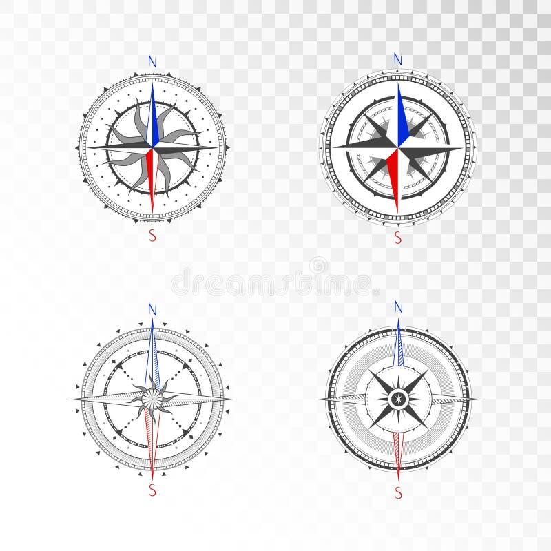 Wektorowy ustawiający roczników kompasy lub morskie wiatrowe róże Kolekcja w kreskowej sztuki stylu ilustracja wektor