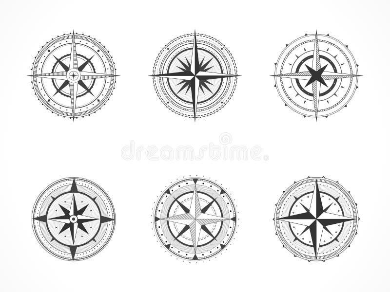 Wektorowy ustawiający roczników kompasy lub morskie wiatrowe róże Kolekcja w kreskowej sztuki stylu czarna linii ilustracji