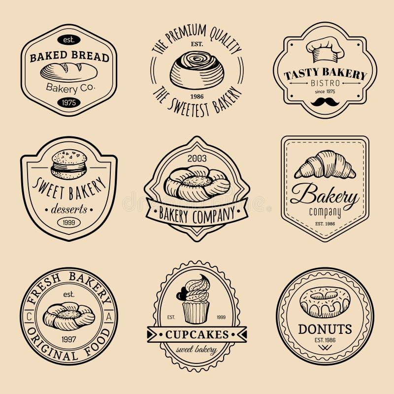 Wektorowy ustawiający rocznik piekarni logowie Retro emblematy inkasowi z słodkim ciastkiem, babeczką, etc Modnisia ciasta ikony ilustracji