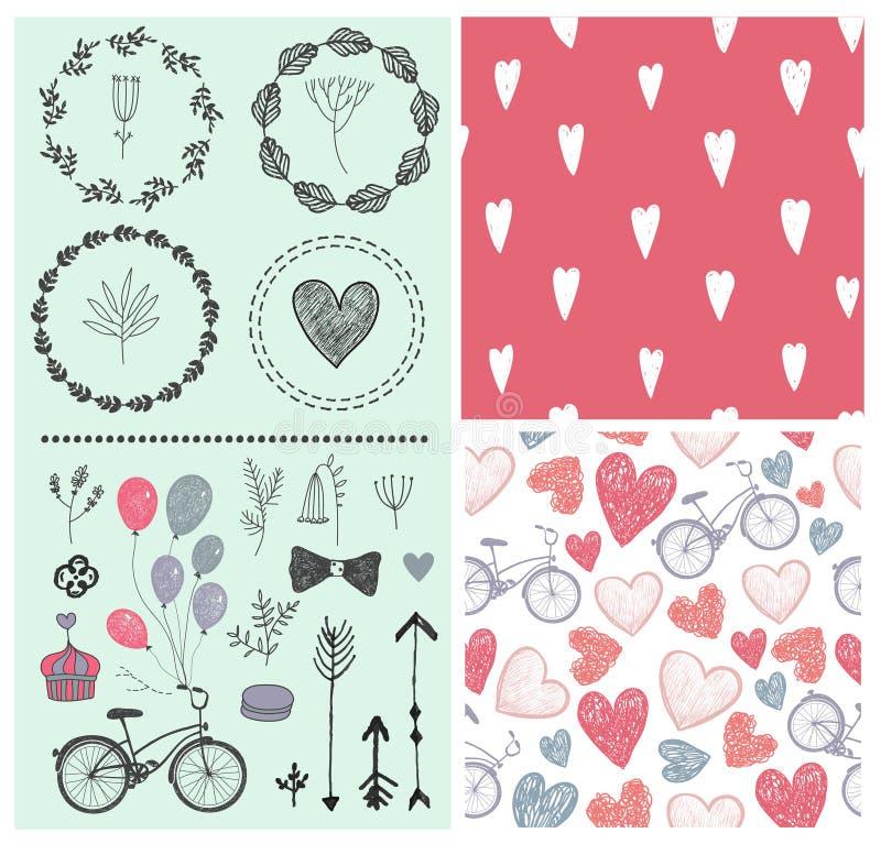 Wektorowy ustawiający rocznika ślubu projekta elementy, zaproszenie Bezszwowa ręka rysujący doodle wzory z sercami i bicyklami ilustracji