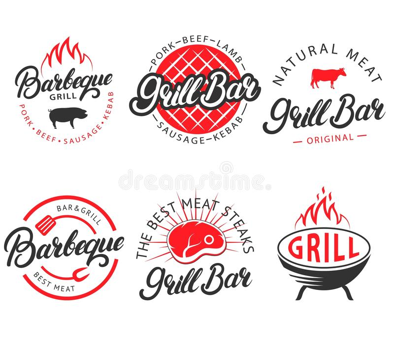 Wektorowy ustawiający rocznika grilla baru bbq przylepia etykietkę emblematy ilustracji