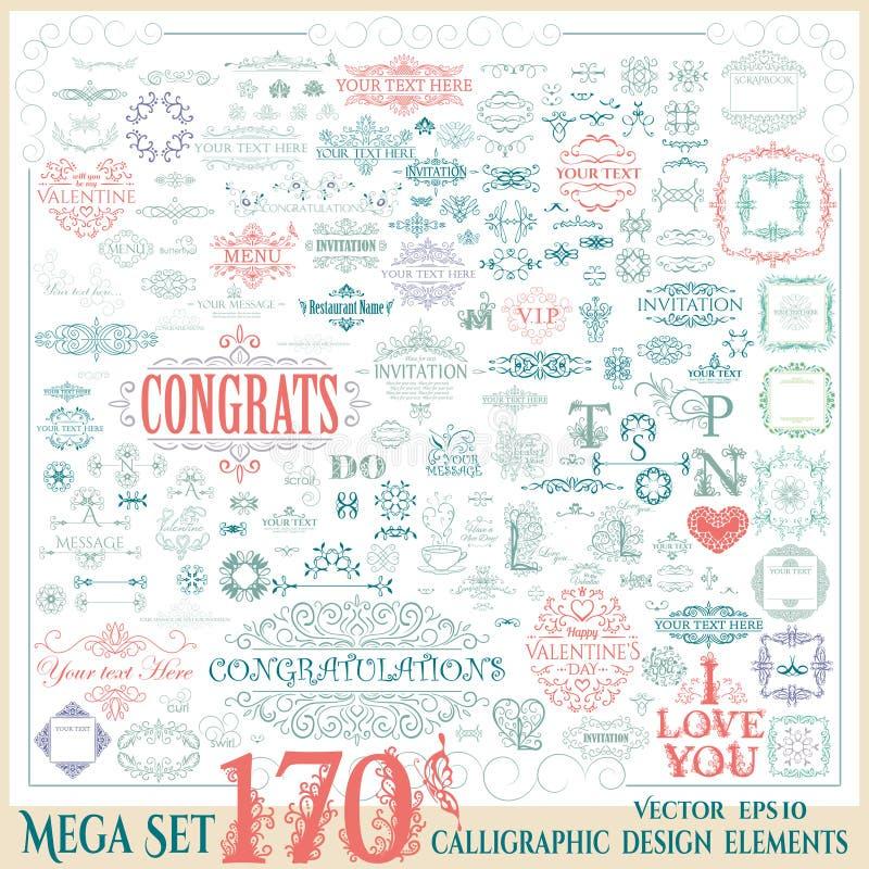 Wektorowy ustawiający 170 rocznika kaligraficzny projekt ilustracja wektor