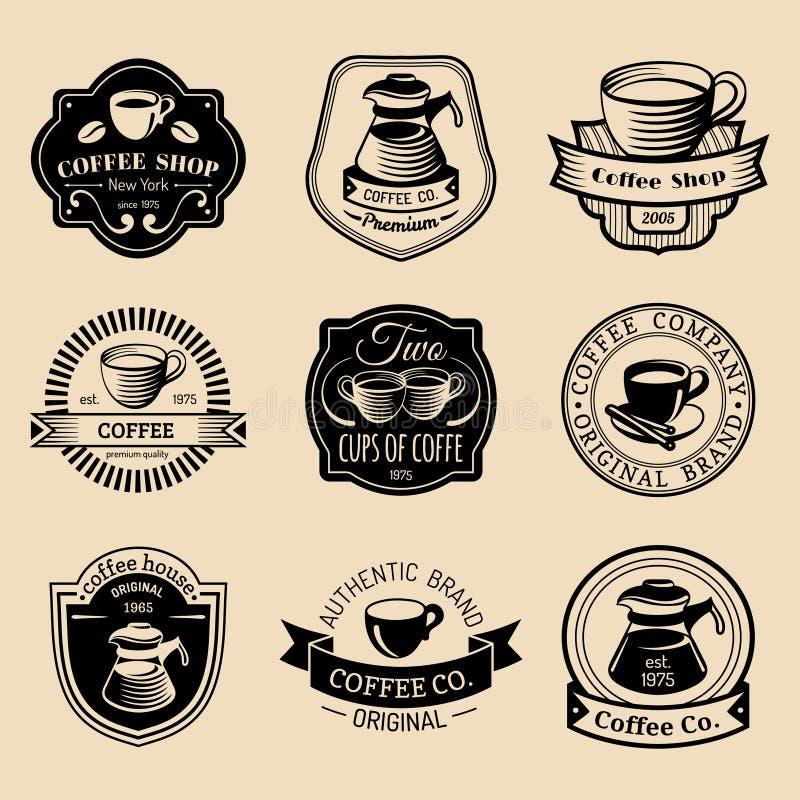 Wektorowy ustawiający rocznika modnisia kawy logowie Nowożytny kawiarnia sklep, restauracyjne ikony, emblematy inkasowi ilustracji