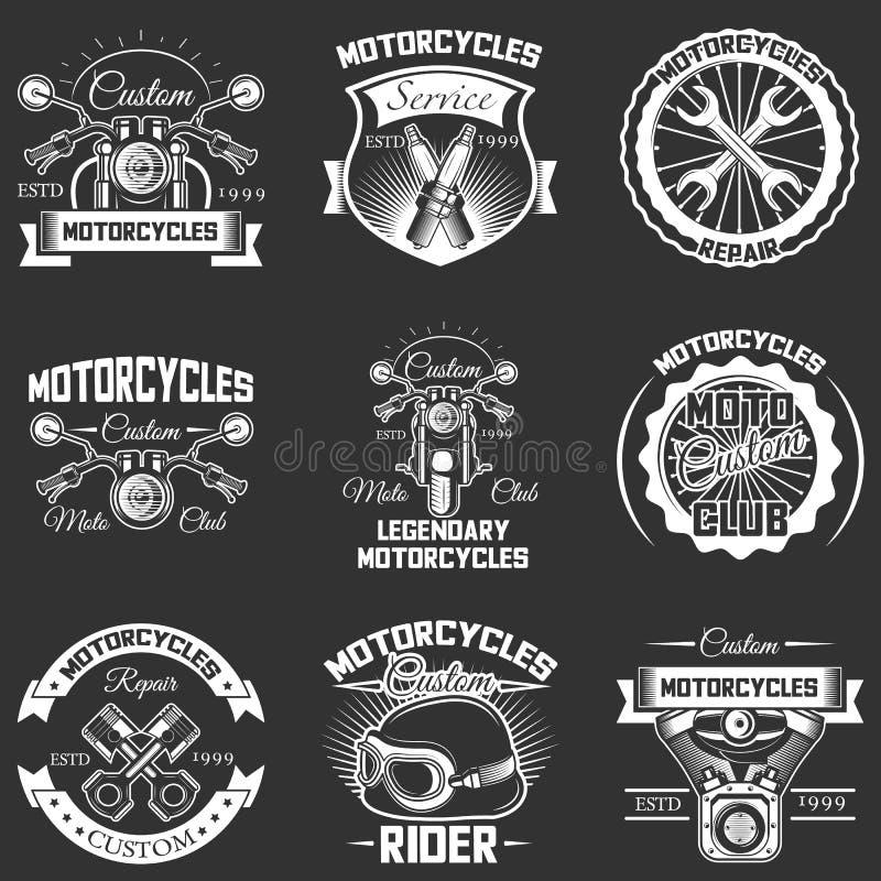 Wektorowy ustawiający rocznika motocyklu usługa etykietki ilustracji