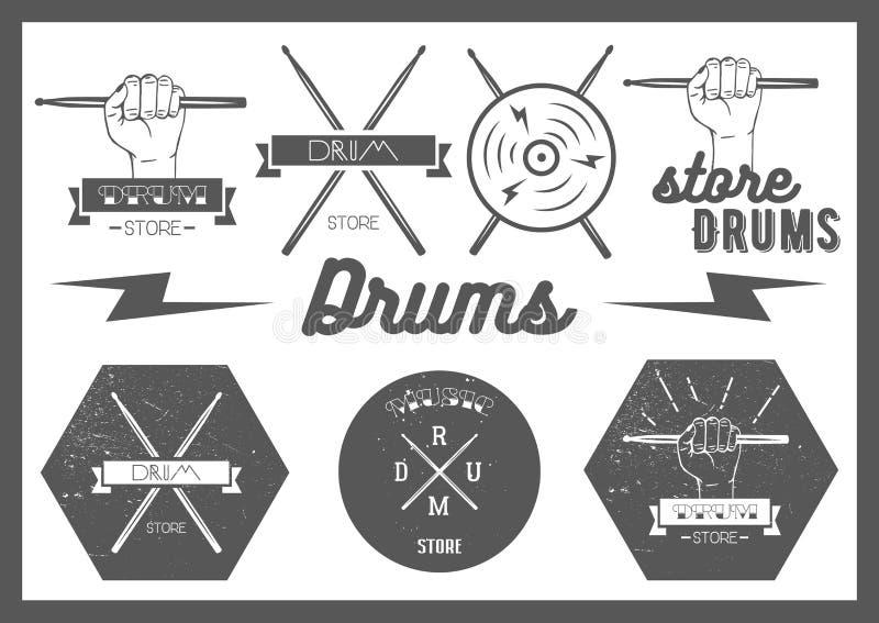 Wektorowy ustawiający rocznika styl bębni etykietki, emblematy ilustracji