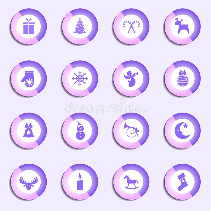 Wektorowy ustawiający round Bożenarodzeniowe ikony ilustracja wektor