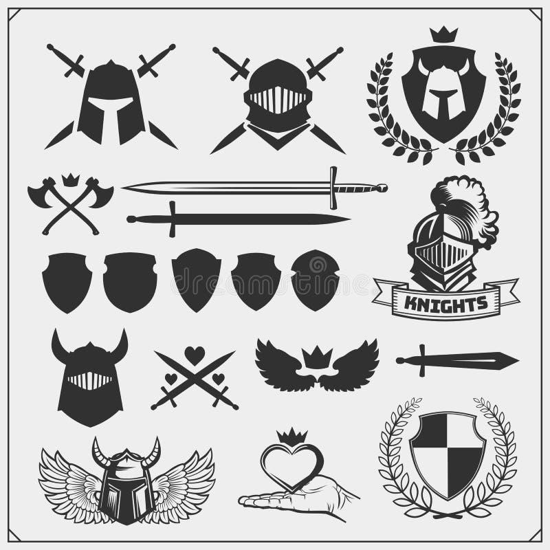 Wektorowy ustawiający rycerzy znaki, ikony i projektów elementy, royalty ilustracja