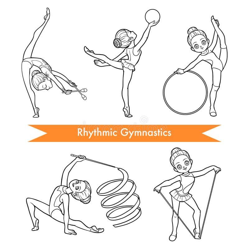 Wektorowy ustawiający rytmiczne gimnastyki kreskówki dzieci ubrań ślicznej mody modne dziewczyn szkieł fryzury ustawiają ilustracji