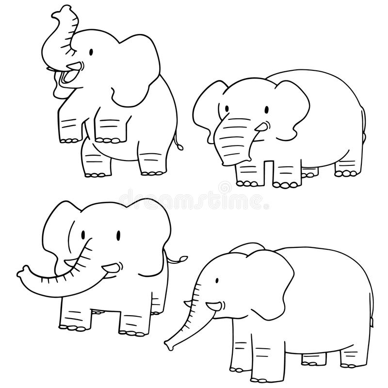 Wektorowy ustawiający słoń ilustracji