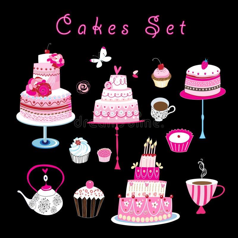 Wektorowy ustawiający słodcy torty i ciasta ilustracja wektor