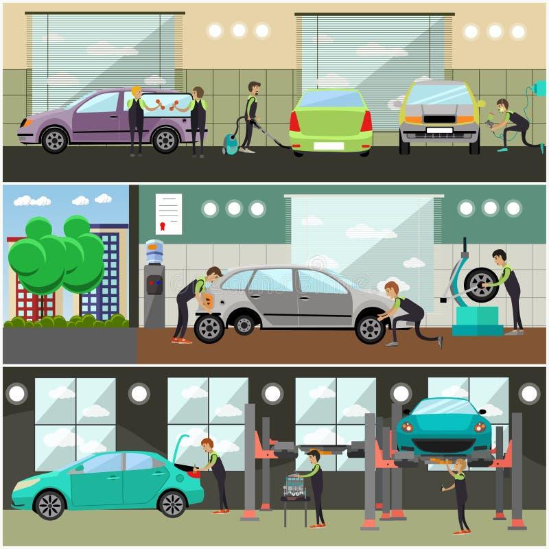 Wektorowy ustawiający samochód usługa, auto naprawy pojęcia sztandary, plakaty ilustracja wektor