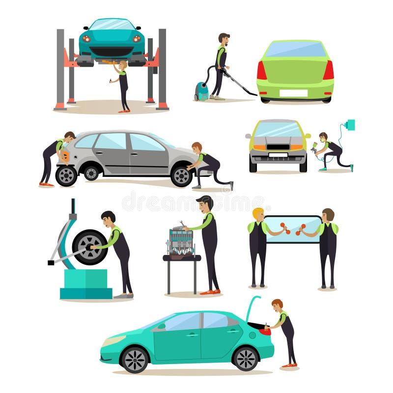 Wektorowy ustawiający samochód usługa, auto remontowego sklepu pracowników ikony ilustracja wektor