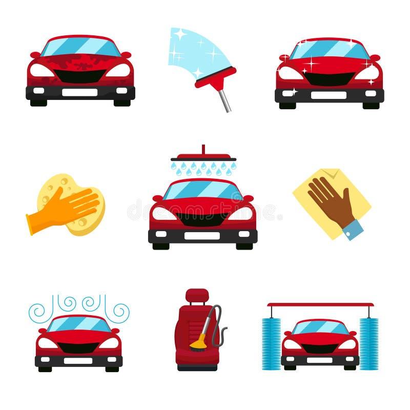 Wektorowy ustawiający samochodowe płuczkowe płaskie ikony ilustracji