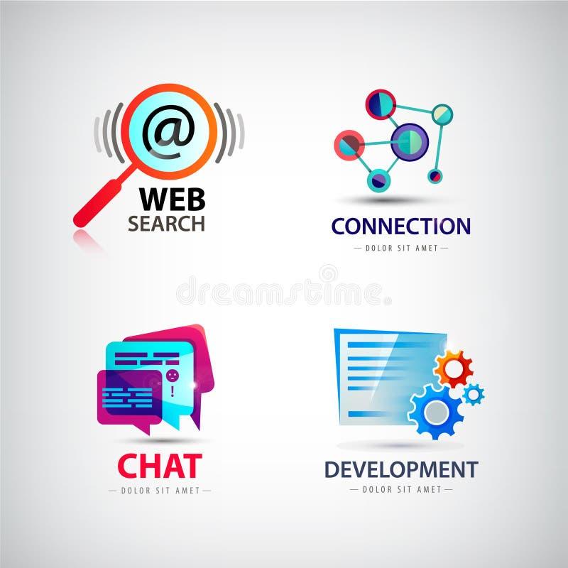 Wektorowy ustawiający sieć logowie, związek, rewizja ilustracja wektor