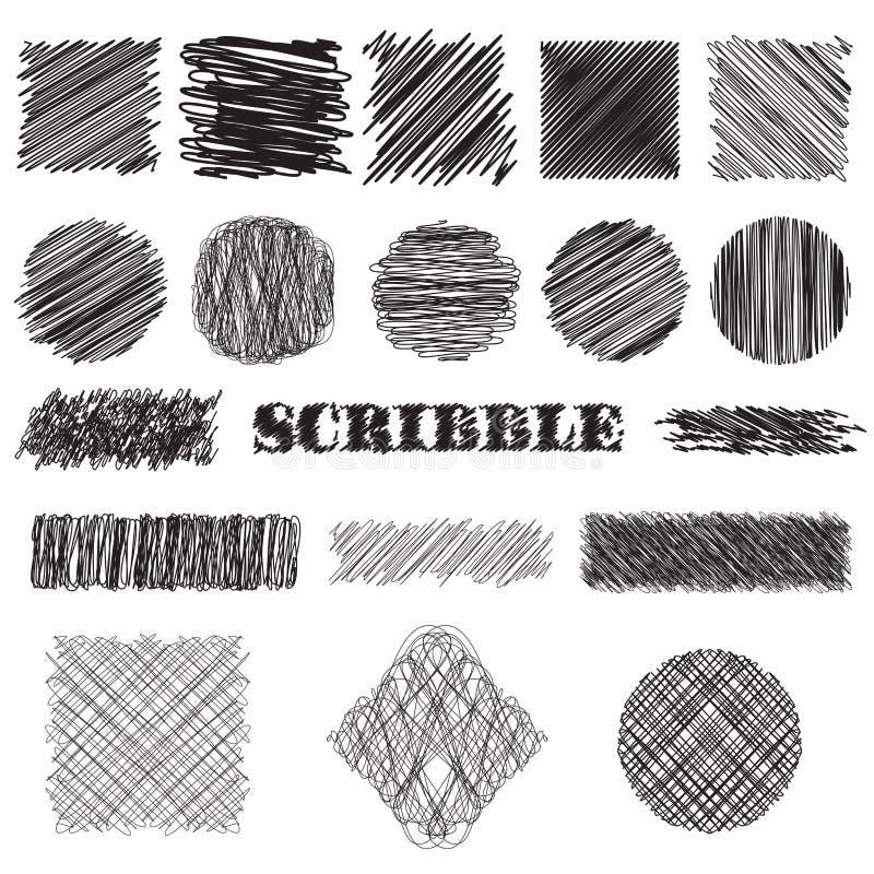 Wektorowy ustawiający skrobanin muśnięcia Kolekcja atrament wykłada, set ręki rysować tekstury ilustracji