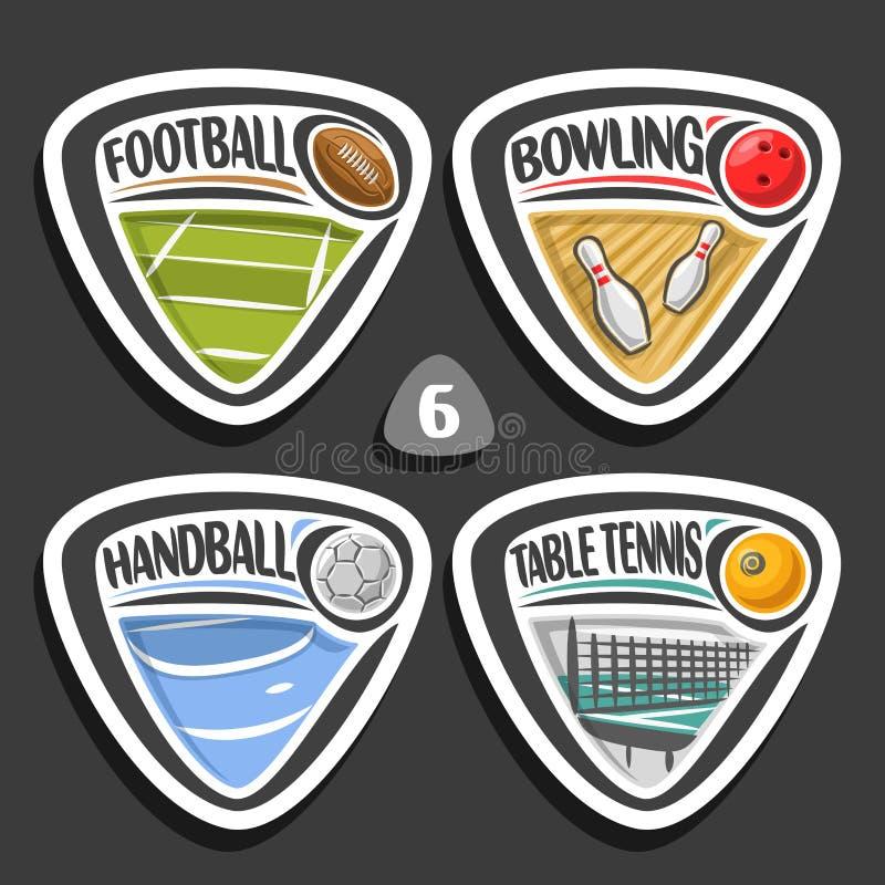 Wektorowy ustawiający sportów logowie ilustracji