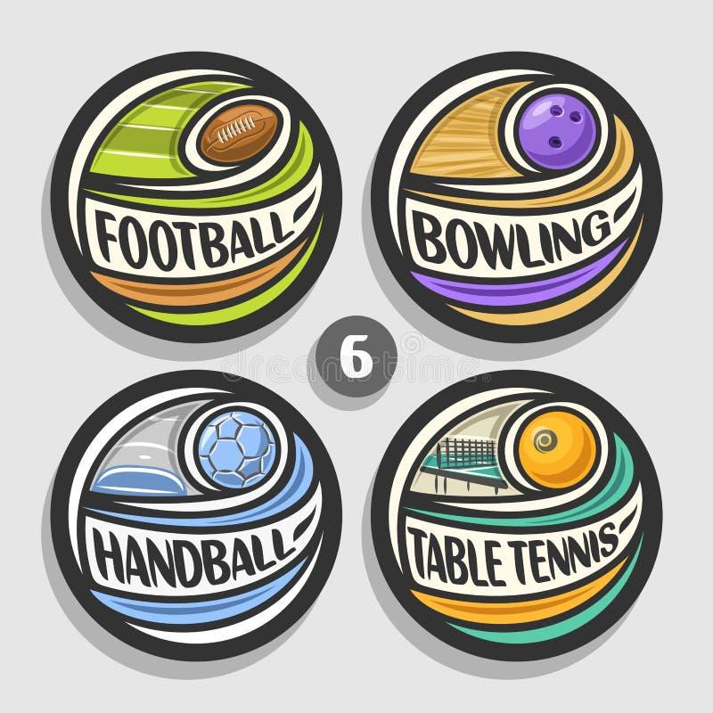 Wektorowy ustawiający sportów logowie ilustracja wektor