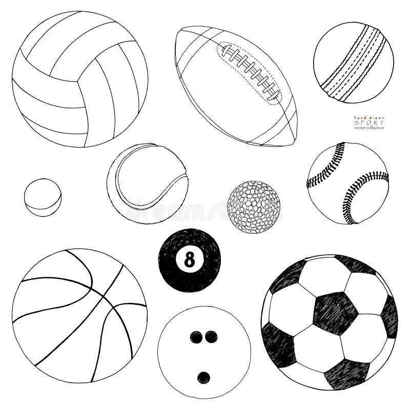 Wektorowy ustawiający sport piłki Ręka rysujący nakreślenie pojedynczy białe tło royalty ilustracja