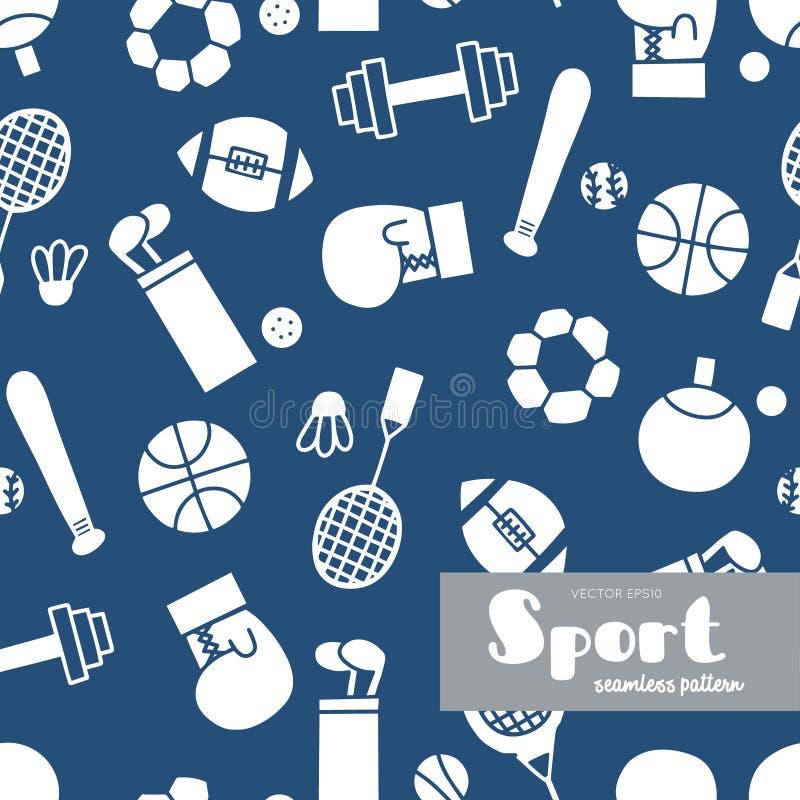 Wektorowy ustawiający sporty doodle deseniowy bezszwowy wektor ilustracji
