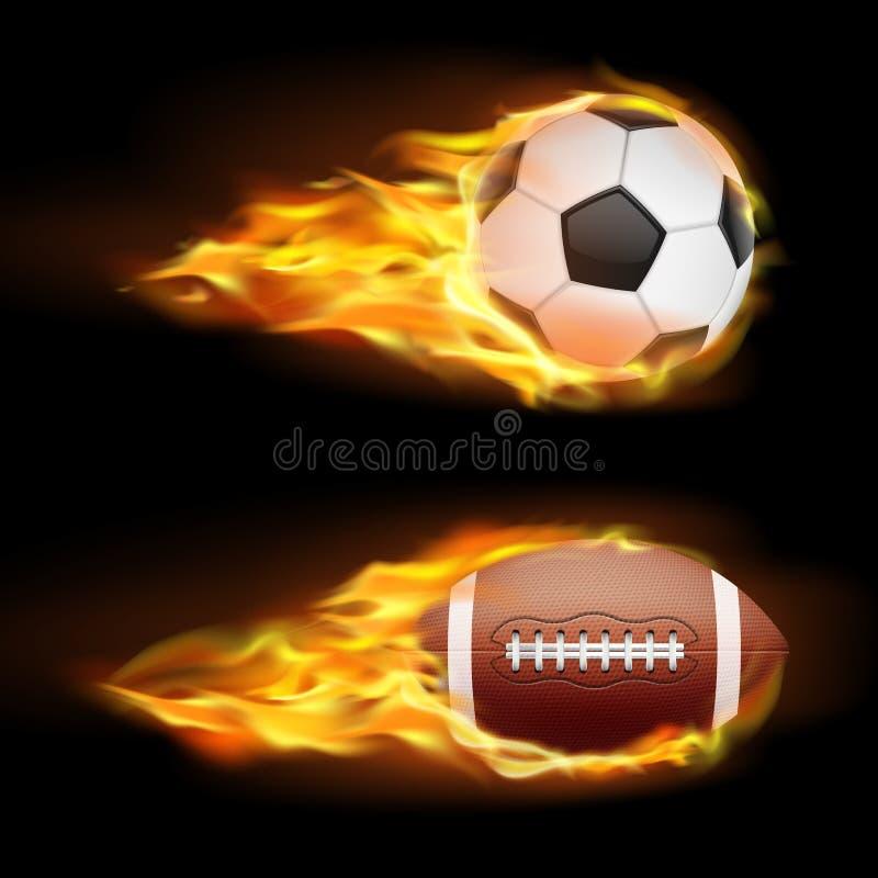 Wektorowy ustawiający sporty pali piłki, piłki dla piłki nożnej i futbol amerykańskiego na ogieniu w realistycznym stylu, ilustracja wektor