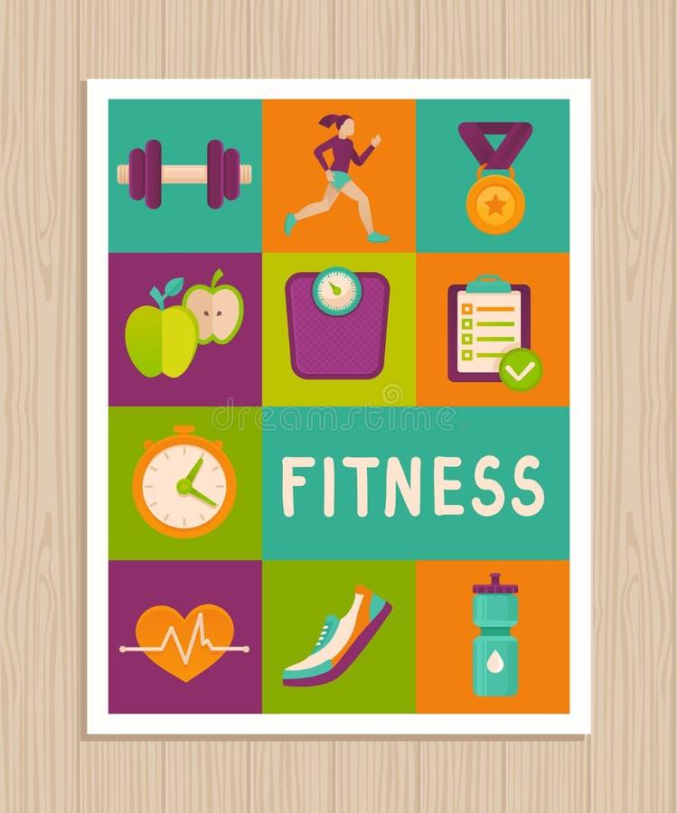 Wektorowy ustawiający sprawności fizycznych ikony na kartka z pozdrowieniami ilustracji