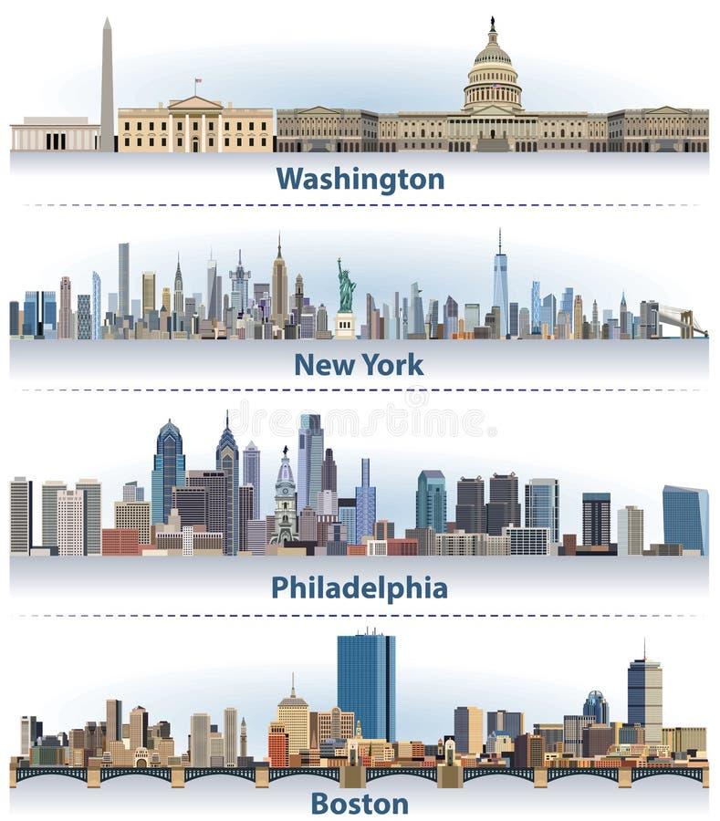 Wektorowy ustawiający Stany Zjednoczone miasta linie horyzontu