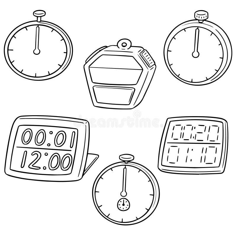 Wektorowy ustawiający stopwatch ilustracja wektor