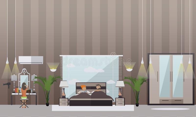 Wektorowy ustawiający sypialni mieszkania stylu projekta elementy royalty ilustracja
