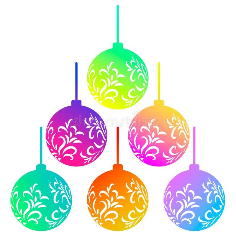 Wektorowy ustawiający sześć kolorowej tęczy Bożenarodzeniowych piłek odizolowywających na białym tle Pi?kne bo?e narodzenie zabaw ilustracja wektor