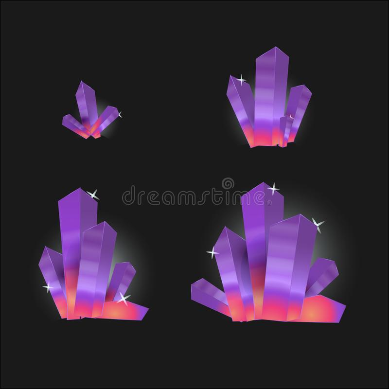 Wektorowy ustawiający szklani kryształy odizolowywający na przejrzystym tle Kryształ ewolucja od małego ampuła ilustracja wektor