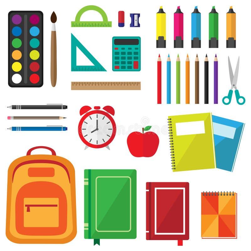 Wektorowy ustawiający szkolne dostawy ilustracja wektor